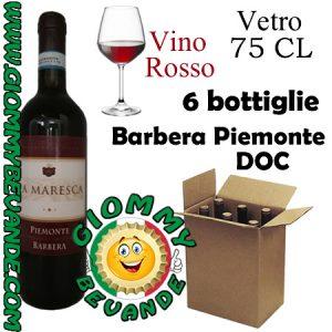 Barbera Piemonte DOC Vino Rosso 6 Bottiglie di Vetro da 75 Centilitri Giommy Bevande