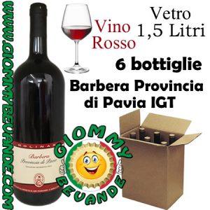 Barbera Provincia di Pavia IGT Vino Rosso 6 Bottiglie di Vetro da 1.5 Litri Giommy Bevande