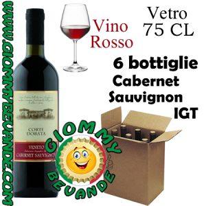 Cabernet Sauvignon IGT Vino Rosso 6 Bottiglie di Vetro da 75 Centilitri Giommy Bevande