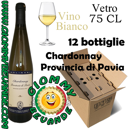Chardonnay Provincia di Pavia IGT Vino Bianco 12 Bottiglie di Vetro da 75 Centilitri Giommy Bevande
