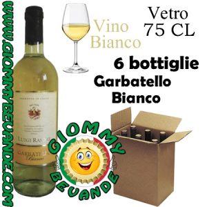 Garbatello Bianco Vino Bianco 6 Bottiglie di Vetro da 75 Centilitri Giommy Bevande