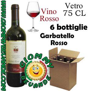 Garbatello Rosso Vino Rosso 6 Bottiglie di Vetro da 75 Centilitri Giommy Bevande