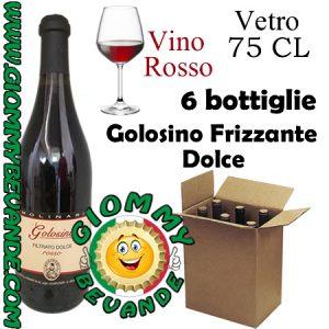 Golosino Frizzante Dolce Vino Rosso 6 Bottiglie di Vetro da 75 Centilitri Giommy Bevande