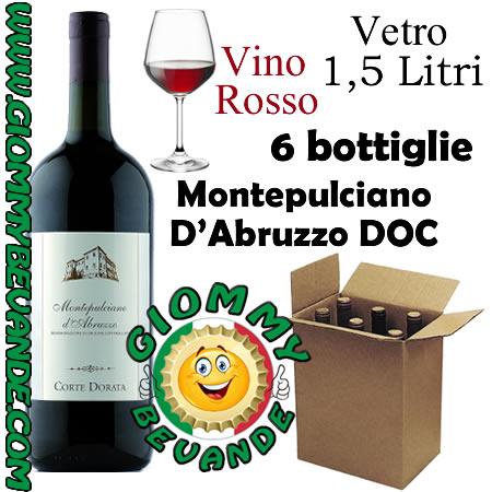 Montepulciano D'Abruzzo DOC Vino Rosso 6 Bottiglie di Vetro da 1.5 Litri