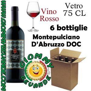 Montepulciano D'Abruzzo DOC Vino Rosso 6 Bottiglie di Vetro da 75 Centilitri Giommy Bevande