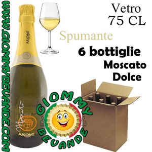 Moscato Dolce Spumante 6 Bottiglie di Vetro da 75 Centilitri Giommy Bevande