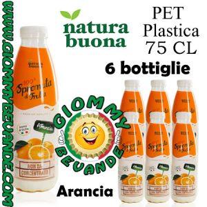 Natura Buona Spremuta di Frutta Gusto Arancia 6 Bottiglie di Pet Plastica da 75 Centilitri Giommy Bevande