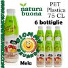 Natura Buona Spremuta di Frutta Gusto Mela 6 Bottiglie di Pet Plastica da 75 Centilitri Giommy Bevande