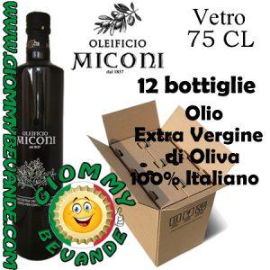 Oleificio Miconi Olio Extra Vergine di Oliva 100 per 100 Italiano 12 Bottiglie da 75 Centilitri Giommy Bevande