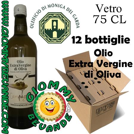 Oleificio Moniga del Garda Olio Extra Vergine di Oliva 12 Bottiglie da 75 Centilitri Giommy Bevande