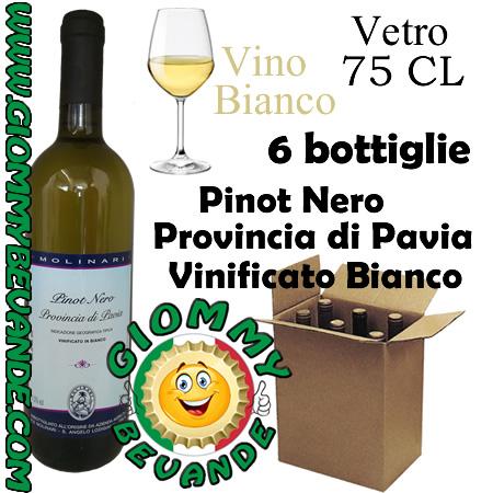 Pinot Nero Provincia di Pavia Vinificato Bianco IGT Vino Bianco 6 Bottiglie di Vetro da 75 Centilitri Giommy Bevande