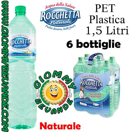 Rocchetta Acqua Naturale 6 Bottiglie di Pet Plastica da 1.5 Litri Giommy Bevande