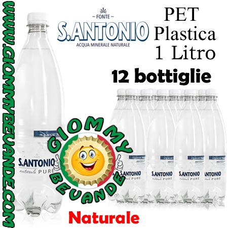 S.Antonio Acqua Naturale 12 Bottiglie di Pet Plastica da 1 Litro Giommy Bevande