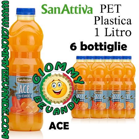 Sanattiva Gusto Ace 6 Bottiglie di Pet Plastica da 1 Litro Giommy Bevande