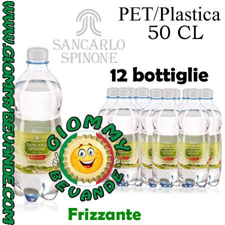 SanCarlo Spinone Acqua Frizzante 12 Bottiglie di Pet Plastica da 50 Centilitri Giommy Bevande