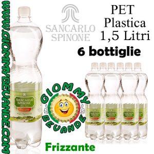 SanCarlo Spinone Acqua Frizzante 6 Bottiglie di Pet Plastica da 1.5 Litri Giommy Bevande