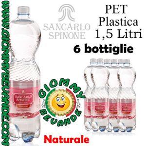 SanCarlo Spinone Acqua Naturale 6 Bottiglie di Pet Plastica da 1.5 Litri Giommy Bevande