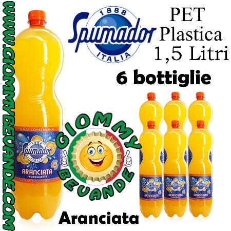 Spumador Aranciata Bibita Gassata 6 Bottiglie di Pet Plastica da 1.5 Litri Giommy Bevande
