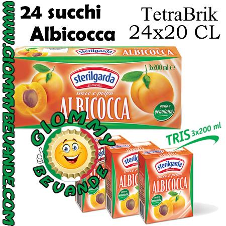 Sterilgarda Succhi di Frutta Gusto Albicocca Tetrabrik 24 da 20 Centilitri Giommy Bevande