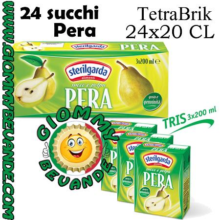 Sterilgarda Succhi di Frutta Gusto Pera Tetrabrik 24 da 20 Centilitri Giommy Bevande