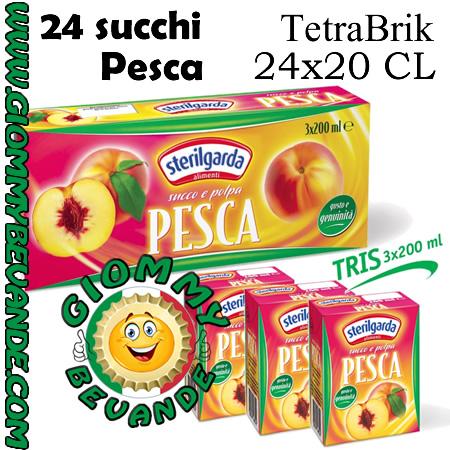 Sterilgarda Succhi di Frutta Gusto Pesca Tetrabrik 24 da 20 Centilitri Giommy Bevande