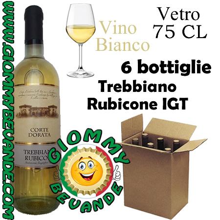 Trebbiano Rubicone IGT Vino Bianco 6 Bottiglie di Vetro da 75 Centilitri Giommy Bevande
