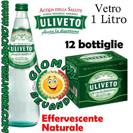 Uliveto Acqua Effervescente Naturale 12 Bottiglie di Vetro da 1 Litro Giommy Bevande