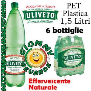 Uliveto Acqua Effervescente Naturale 6 Bottiglie di Pet Plastica da 1.5 Litri Giommy Bevande